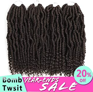 MOBOK Pre-Twisted Bomb Twist Crochet Hair 4packs 12inch Pre-Looped Spring Twist Synthetic Crochet Hair Extensions 96 Roots/lot (12inch, 4)