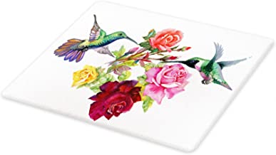 Lunarable Birds Cutting Board, Hand Drawn Ornate Colorful Roses and Watercolor Hummingbirds Romantic Illustration, Decorative Tempered Glass Cutting and Serving Board, Large Size, Sage Green