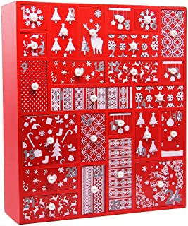 Juegoal Red Advent Calendar with 24 Drawers Countdown to Christmas, Refillable Wooden Advent, 15 Inches Tall