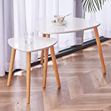 TaoHFE Coffee Table White, Nesting Coffee Table Set of 2 for Living Room