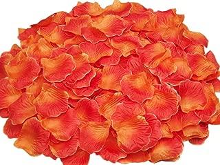 ocharzy 1000pcs Silk Rose Petals Wedding Flower Decoration (Orange+Red)