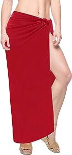 1152ea2f90 LA LEELA Women s Bikini Wrap Cover up Swimsuit Dress Sarong Solid Plus Size