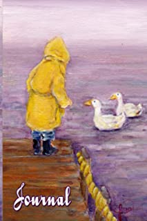 Child in raincoat with ducks on river deck 120 pages SOFT COVER Journal Ines Miller stationary designs: Morning at the lak...
