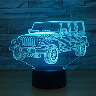 Toy Jeep Night Lights Car Gifts for Kids Birthday 3D Illusion SUV Desk Lamp Optical Desk Table Touch Home Decoration Child...