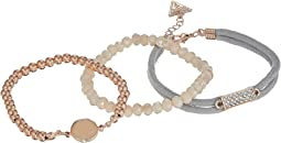 Three-Piece Bracelet Set - Two Stretch and One Cord