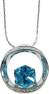 MOONSTONE Fashion Pendant For Women Sterling Silver Stunning Round Cube Swarovski Crystal Elements Chain, Aquamarine