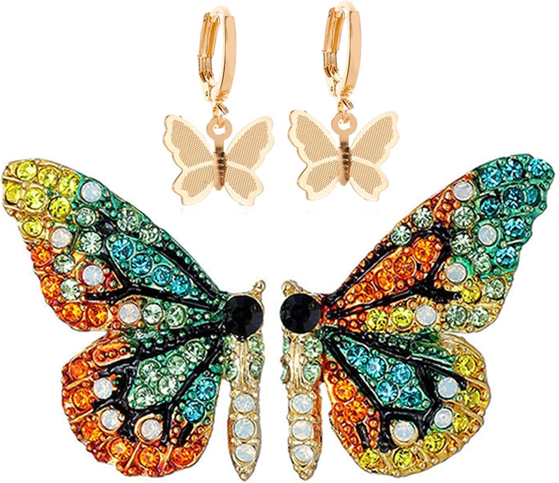 SMALLLOVE Butterfly Stud Earrings for Women Girls Colorful Handmade 3D Crystal Fairy Animal Earrings Fashion Rhinestone Ladies Jewelries