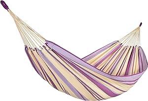 Amalyssa–Hamaca Provence Lavanda Ecru, Violet & Lila–Lienzo Resistente–Confort & solidité–Secado rápido–Lavable 30°–Hecho a Mano
