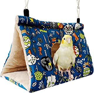 QX-Pet Supplies Winter Warm Bird Nest House Hanging Hammock Velvet Shed Hut Cage Plush Fluffy Birds Hideaway Sleeping Bed ...