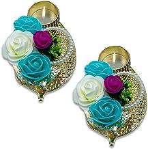 "HATHKAAM 5"" 2 PC Set Golden Leaf Metal Round Double Layer Decorative Diya for Diwali HKDT017"