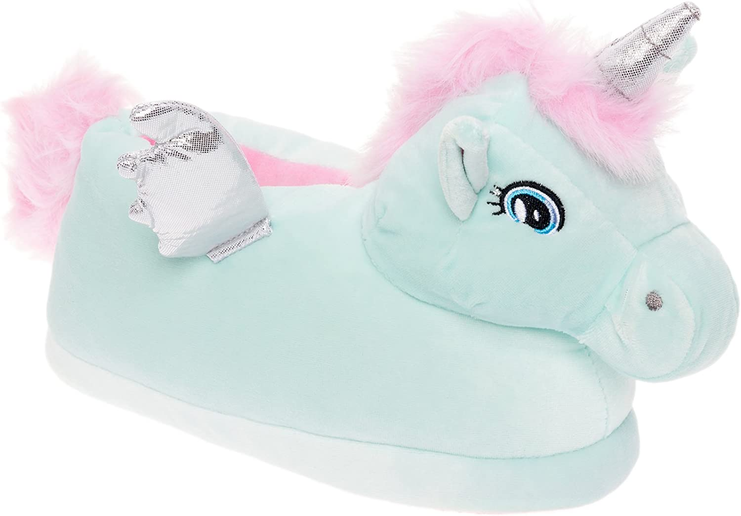 Silver Lilly Pegasus Slippers - Plush Animal Slippers w Comfort Foam Support