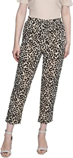 BESIVA Women's Leopard Animal Print Belted Trouser
