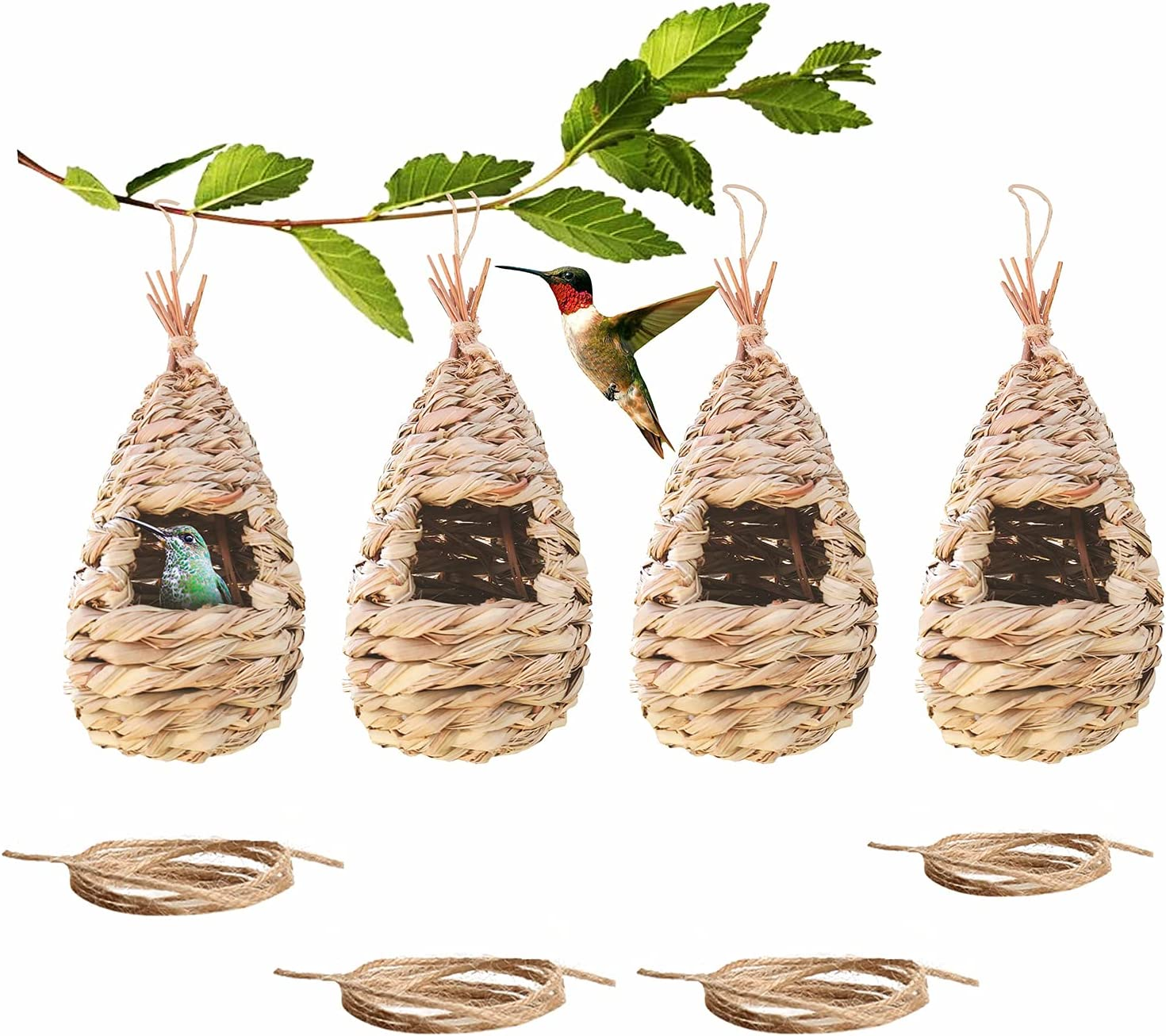 4 Pack Humming Bird Houses for Outside Hanging, Natural Grass Hummingbird House with Rope for Outdoors, Hand Woven Birdhouse for Nesting, Chickadee Wren Finch Canary Bird Hut Home Gardening Decor Gift