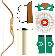 "KNIDOSE Beginners Bow and Arrow For Kids - 35 Pc Archery Set Outdoor or Indoor| Wooden 32"" Bow, 15 Safety Rubber Tip 18"" Arrows, 15 Target Sheets, 1 Quiver, 2 Wristband, 1 Mask for Cosplay Costume Toy"