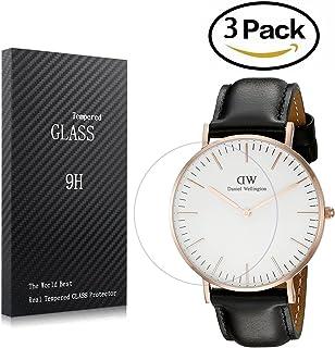 Youniker - Pellicola protettiva per orologio Daniel Wellington 0508DW, confezione da 3 pellicole salvaschermo in vetro tem...