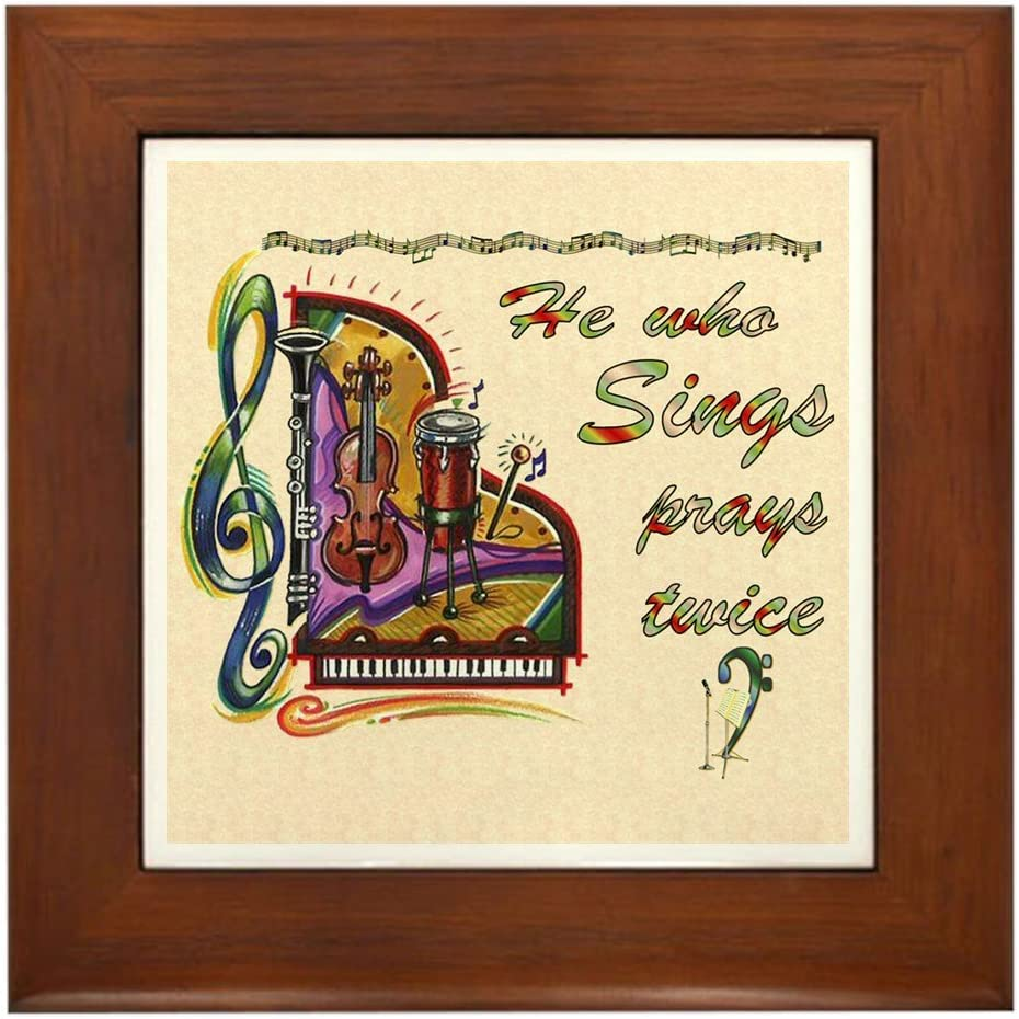 CafePress He Beauty products Who Sings Prays Factory outlet Decorative Tile Twice Framed