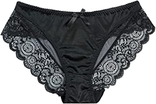 Women Funnyy Lace Panties Transparent Seamless Underwear Cutton Floral Embroidery Sheer Briefs Soft Lingerie