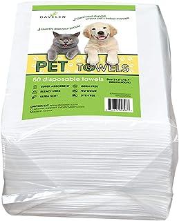 """حوله های یکبار مصرف حیوانات خانگی DAVELEN (50-بسته) ، سوپر جاذب ، برای سگها و گربه های کوچک ، متوسط ، بزرگ   پنجه ، خز ، استفاده از بدن   سفید کننده و رنگ رایگان ، بهداشتی ، اکولوژیک   اندازه حوله: 31.5 """"x 15.5"""" (سفید)"""