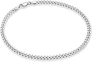Miabella Solid 925 Sterling Silver Italian 3.5mm Diamond Cut Cuban Link Curb Chain Anklet Ankle Bracelet for Women, 9, 10 ...