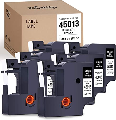 popular myCartridge 6-Pack Compatible with Dymo D1 Label Tape 45013 (S0720530) Black On White Replacement for Dymo Label Manager 160 280 popular 420P PnP 220P 360D 450 wholesale 210D(1/2 Inch x 23 Feet, 12mm x 7M) sale