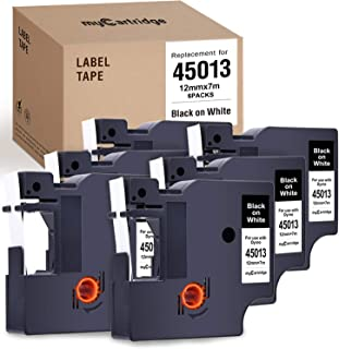 myCartridge 6-Pack Compatible with DYMO D1 Label Tape 45013 (S0720530) Black on White Replacement for DYMO Label Manager 160 280 420P PnP 220P 360D 450 210D(1/2 Inch x 23 Feet, 12mm x 7m)