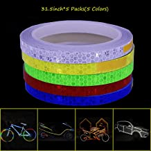Vetoo Reflective Tape Outdoor Safety Warning Lighting Sticker Waterproof Bike Reflector Tapefor Car, Bicycle, Motorcycle Rim Self-Adhesive DIY Decoration (5 Colors-Red Blue Green Yellow White)