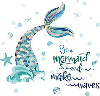 decalmile Stickers Muraux Queue de Sirène Autocollant Mural sous la Mer Décoration Murale Chambre Enfants Bébé Pépinière S...