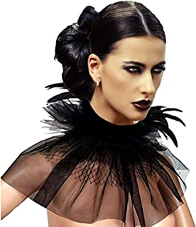 Women's Victorian Natural Feather Tulles Lace Choker Neck Wrap Collar Halloween