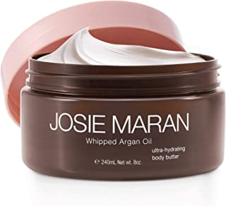 Josie Maran Whipped Argan Oil Body Butter - Immediate, Lightweight, and Long-Lasting Nourishment to Soften and Hydrate Skin (Vanilla Apricot, 4 fl oz/118ml)