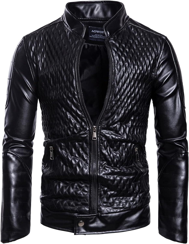 Men's Latticed Bomber Jacket,Slim Fit Coat,Solid Color Stand-Collar Cardigan Jacket