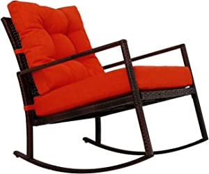Kinbor Rattan Rocker Chair Outdoor Garden Rocking Chair Wicker Lounge w/Cushion (Orange)