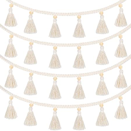 Party Supplies Nursey Dorm Room 2 Pack Oligate Cotton Colorful Tassel Garland Pastel String Banner Macrame Rainbow Wall Hanging Decorative Boho Home Decor Baby Shower Holiday