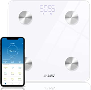 MASARU 体重・体組成計 Bluetooth 体重計 体脂肪計 BMI/体脂肪率/筋肉量など測定可能 180kgまで対応 iPhone/Android専用アプリ対応 データ自動記録 iOSヘルスケア連動 スマートスケール(電池付属)