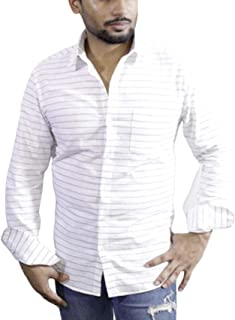 Spanish One Look Mens Casual Long Sleeve 100% Cotton Regular Fit Button Down Casual Shirts Dress in White Printed Stripped Shirt for Men