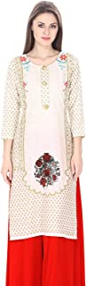 Natty India Off-White Women's Viscose Cotton Gold Printed Straight 3/4 Sleeves Kurti Size M-5XL