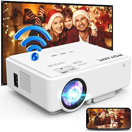 POYANK WiFiプロジェクター 5500LM【720Pネイティブ解像度】スマホとケーブルなしで直接接続 1080PフルHD対応 デュアルスピーカー内蔵 スマホ/タブレット/パソコン/TV Stick/ゲームプレイヤー/DVDプレイヤーなど多種多様な機器と接続可能 標準的なカメラ三脚に取り付け可能