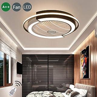 Ventiladores De Techo Lámparas Control Remoto Iluminación Regulable Ventilador Lampe Techo Marrón Temporización Inteligente Ventiladores LED Fácil Limpiar Ventilador Moderno Luz