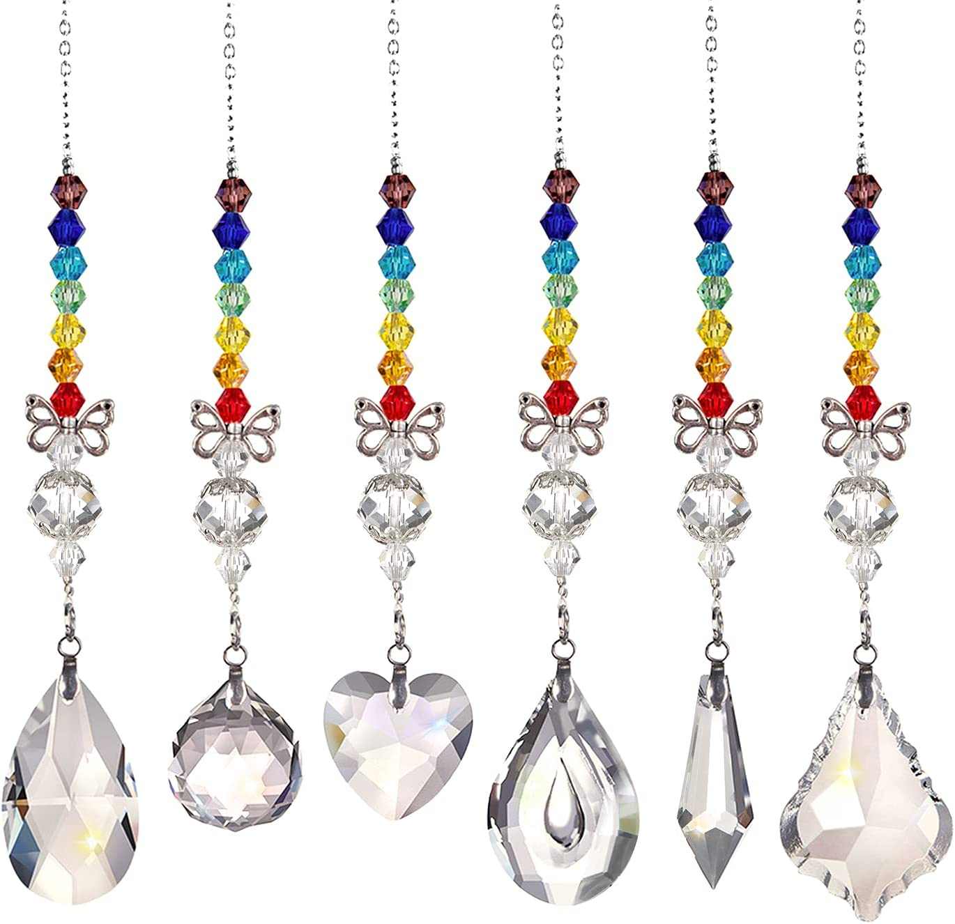 6Pcs Crystal Ball Prisms Suncatcher Window Rainbow Maker Butterfly Beads Chandelier Lamps Chain Crystals Glass Pendant Hanging Ornament for Home Office Garden Window Car Decoration