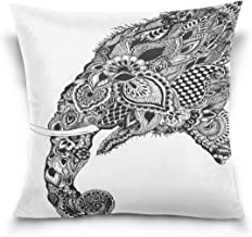 Ethel Ernest Elephant Head Home Decor Zippered Pillowcase Throw Pillow Cover Cases 20 x 20 Inches
