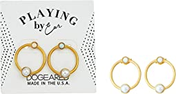 Dogeared - Playing By Ear, Two Hole Lip Card, Ring with Pearl and Opal Essence Bezeled Earrings