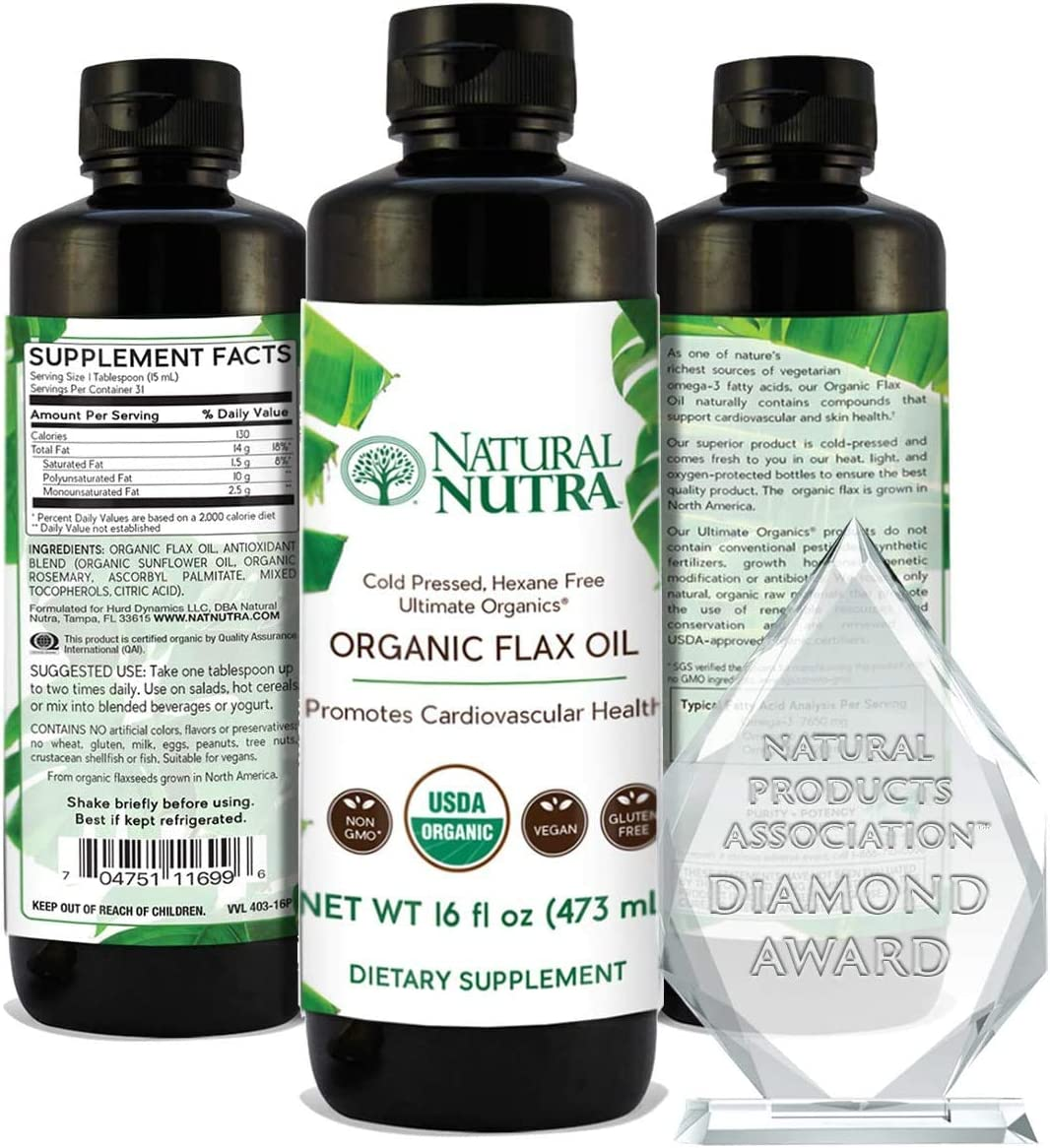 Natural Nutra Sales Organic Flaxseed Safety and trust Oil Press Cold Liquid Supplement