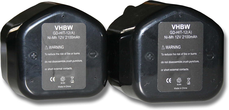 vhbw 2X Ni-MH batería 2100mAh (12V) para Herramientas Hitachi C 5D, C5D, CD 4D, CD4D, CL 10D2, CL 13D por Hitachi EB12, EB1224, EB12B, EB12G, EB12M.