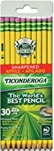 TICONDEROGA Pencils, Wood-Cased, Pre-Sharpened, Graphite #2 HB Soft, Yellow, 30-Pack (13830)
