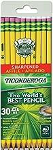 TICONDEROGA Pencils, Wood-Cased, Pre-Sharpened, Graphite #2 HB Soft, Yellow, 30-Pack (13830)