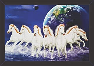 Mad Masters Canvas Seven Running Horses Vastu Painting (UV Textured Print, 19 x 13 inch) Wall Painting With Frames Picture...