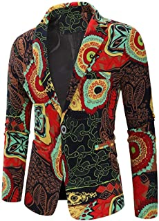 Inlefen Mens Casual Blazer Printed Casual Suit Autumn Winter Long Sleeve Fashion Business Wedding Slim Cotton 2 Button Man Tennager Coat Jacket Outwear