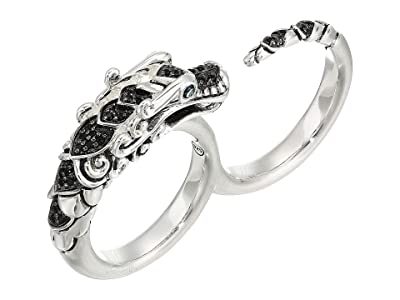 John Hardy Legends Naga Two Fingers Ring in Brushed Finish with Black Spinel and Blue Sapphire Eyes (Silver) Ring