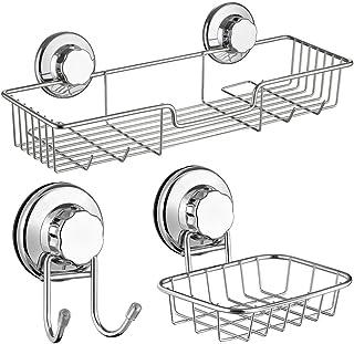 SANNO 浴室シャワーラック 石鹸置き フック3個セット 強力吸盤 風呂場洗面所キッチン収納 ボーディーソープ シャンプー コンディショナー壁掛け収納 ステンレス製