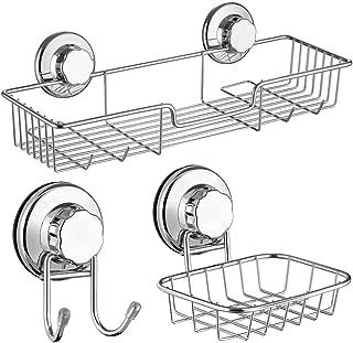 SANNO Bath Shower Caddy Soap Dish Double Bath Hook-Bath Organizer Kitchen Storage Basket for Shampoo, Conditioner, Soap- Anti Rust Stainless Steel (Set of 3)