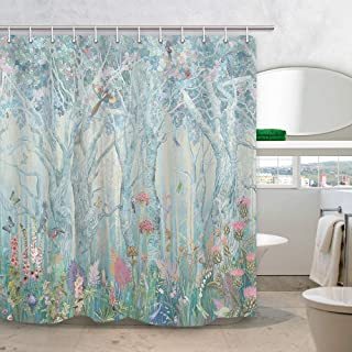 DYNH Winter Enchanted Forest Shower Curtain, Vibrant Fairytale Woodland Jungle with Tree Bird Flowers Plant Fabric Christmas Curtains for Bathroom, Bath Drapes Accessories with Hooks, 69X70IN